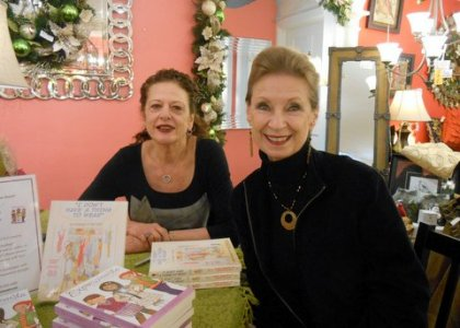 Expressionista authors Jackie Walker and Pamela Dittmer McKuen at a Mother-Daughter Breakfast and Book-Signing, Little Traveler in Geneva, Illinois